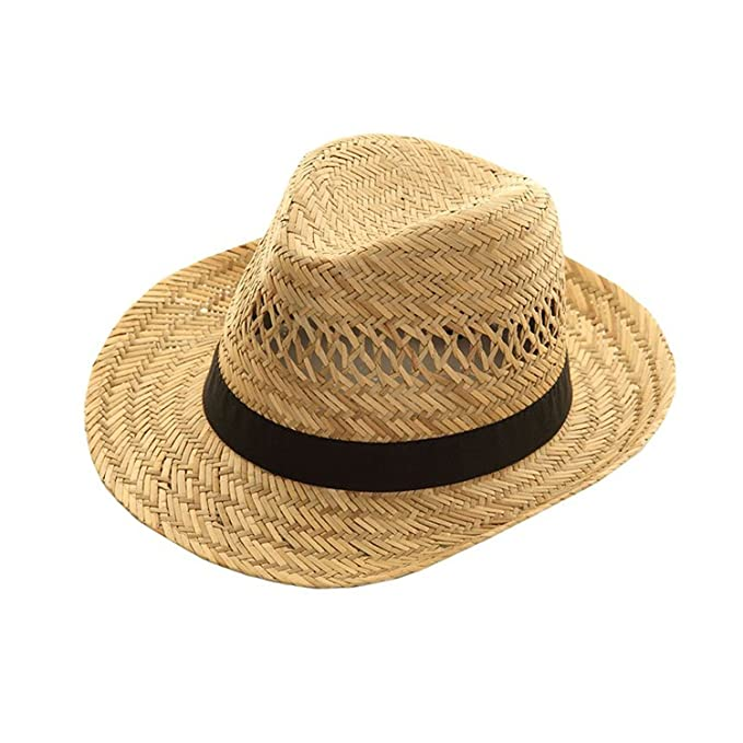 c97c5f2ad01 Straw Trilby Hat BLACK Band L M S MENS LADIES Sun Fedora WRAPEEZY  Amazon.co .uk  Clothing