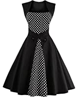 Hot vestidos de playa vintage autumn Dot Black Party Dress Sleeveless