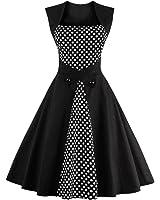 Hot vestidos de playa vintage autumn Dot Black Party Dress Sleeveless