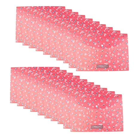 Navy Homyl 20 Pcs Beautiful Flower Plastic Envelope File Document Folder with Snap Closure for Important Papers Document 4 Colors Available