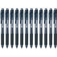 Pentel EnerGel-X Retractable Liquid Gel Pen, 0.5 mm, Black, Pack of 12