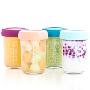 Babymoov Glass Food Storage Containers | Leak Proof Stackable & Reusable Glass Jars (Pick Your Set Size)