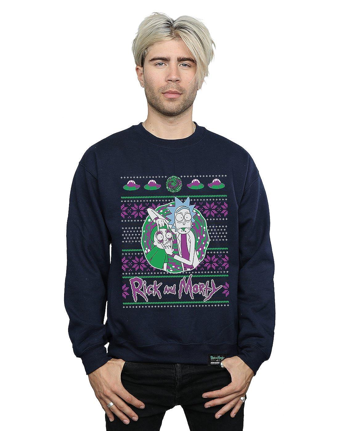 Absolute Cult Hombre Rick and Morty Christmas Portal Camisa De Entrenamiento: Amazon.es: Ropa y accesorios