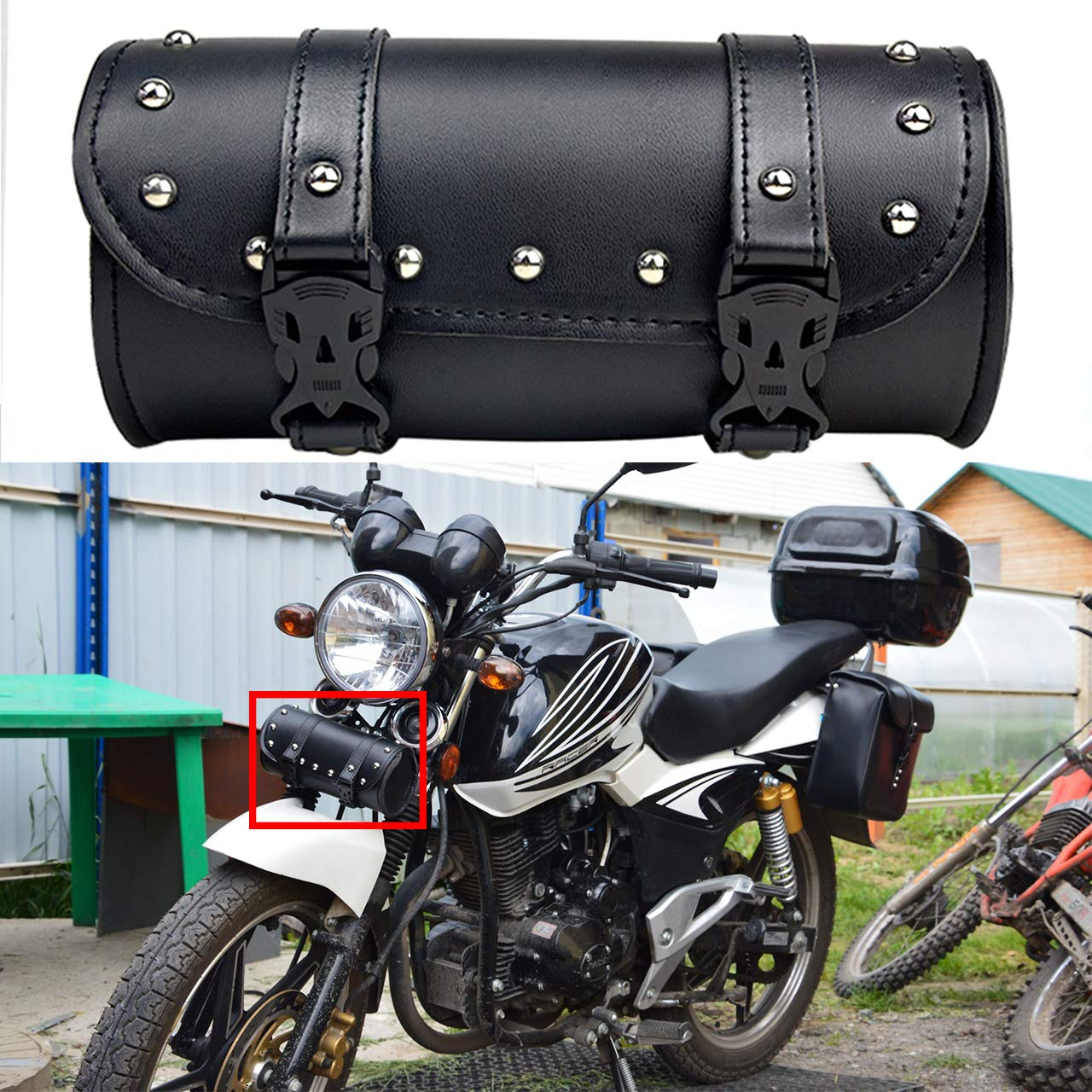 YHMTIVTU Motorcycle Handlebar Bag Roll Tool Bag PU Leather Saddlebags Storage Tool Pouch Brown