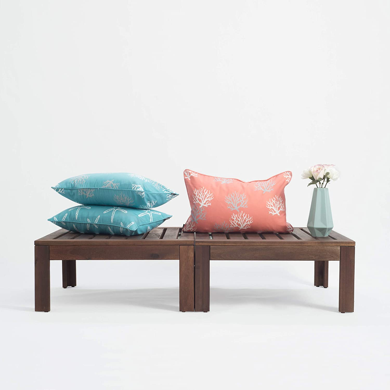 Hofdeco Decorative Outdoor Lumbar Pillow Cover Water Resistant Patio Garden Picnic Decor Coral Love Coral 12 x20
