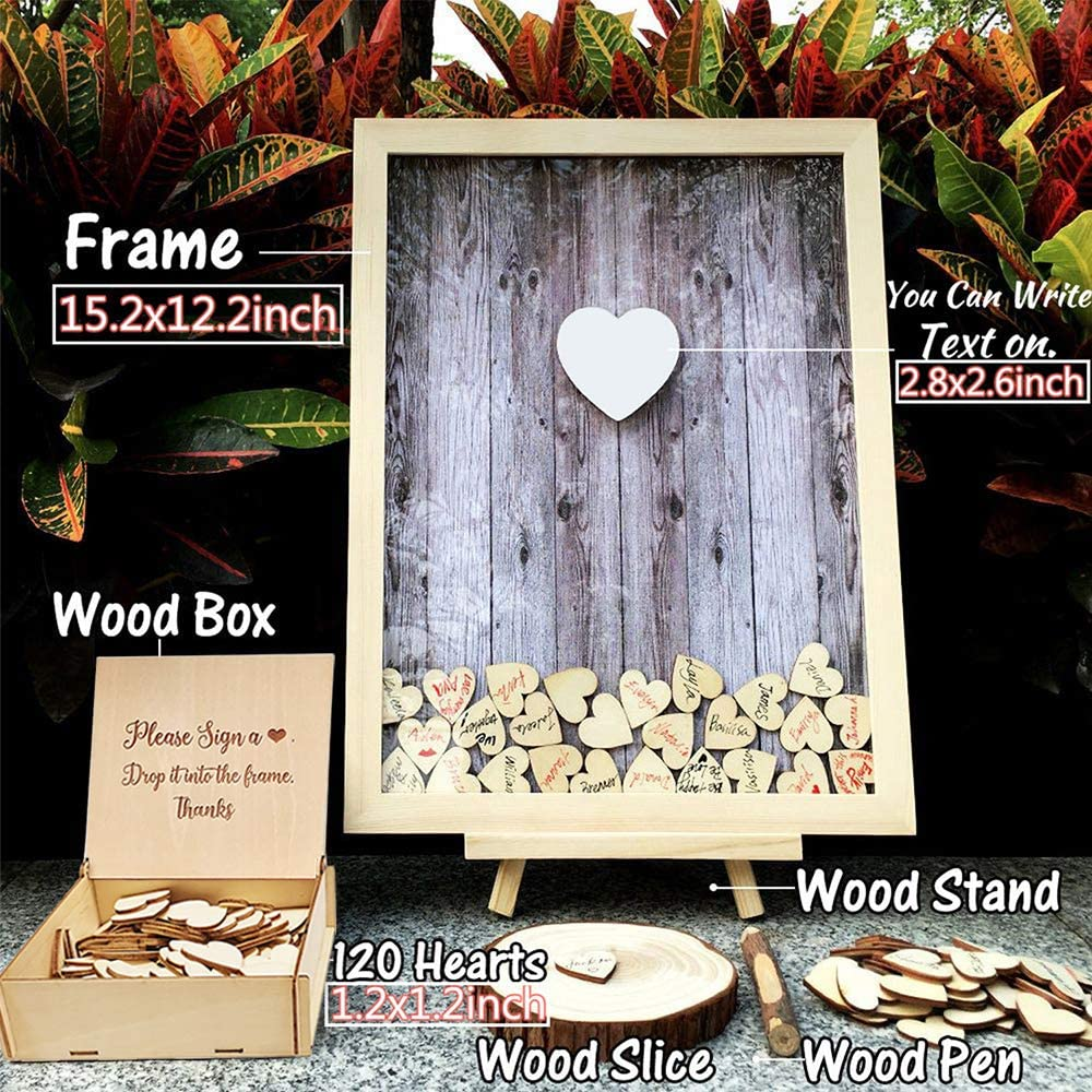 NEAMON Wedding Guest Book Alternative Pen Sign Drop Top Wooden Frame for Baby Shower Birthday Party Decoration 120 Hearts