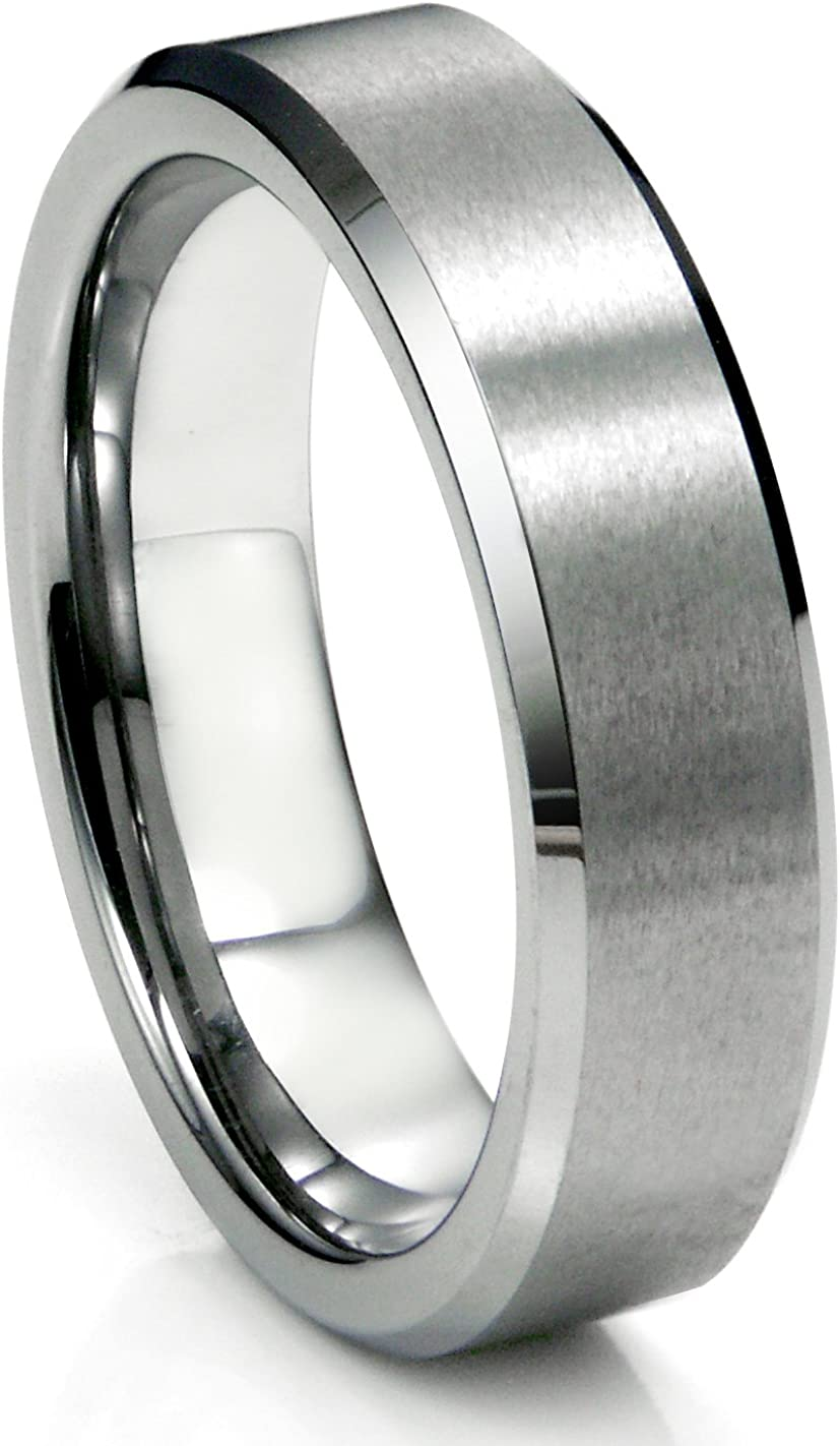 6MM Tungsten Satin Men's Wedding Band Ring Size 5-16