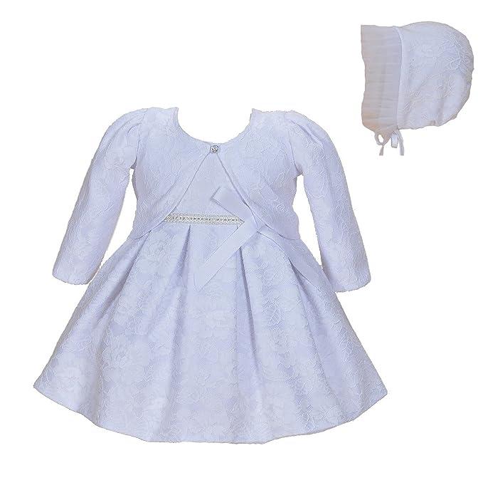 Cinda Bebé niñas Bautizo Fiesta Vestido de Encaje con bonete Blanco 0-3 Meses(