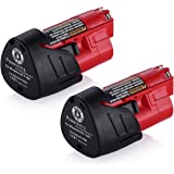 Powerextra 2 Pack 12V 2500mAh Lithium-ion Replacement Battery Compatible with Milwaukee M12 Milwaukee 48-11-2411 LITHIUM 12-Volt Cordless Milwaukee Tools Milwaukee 12V Battery Lithium-ion