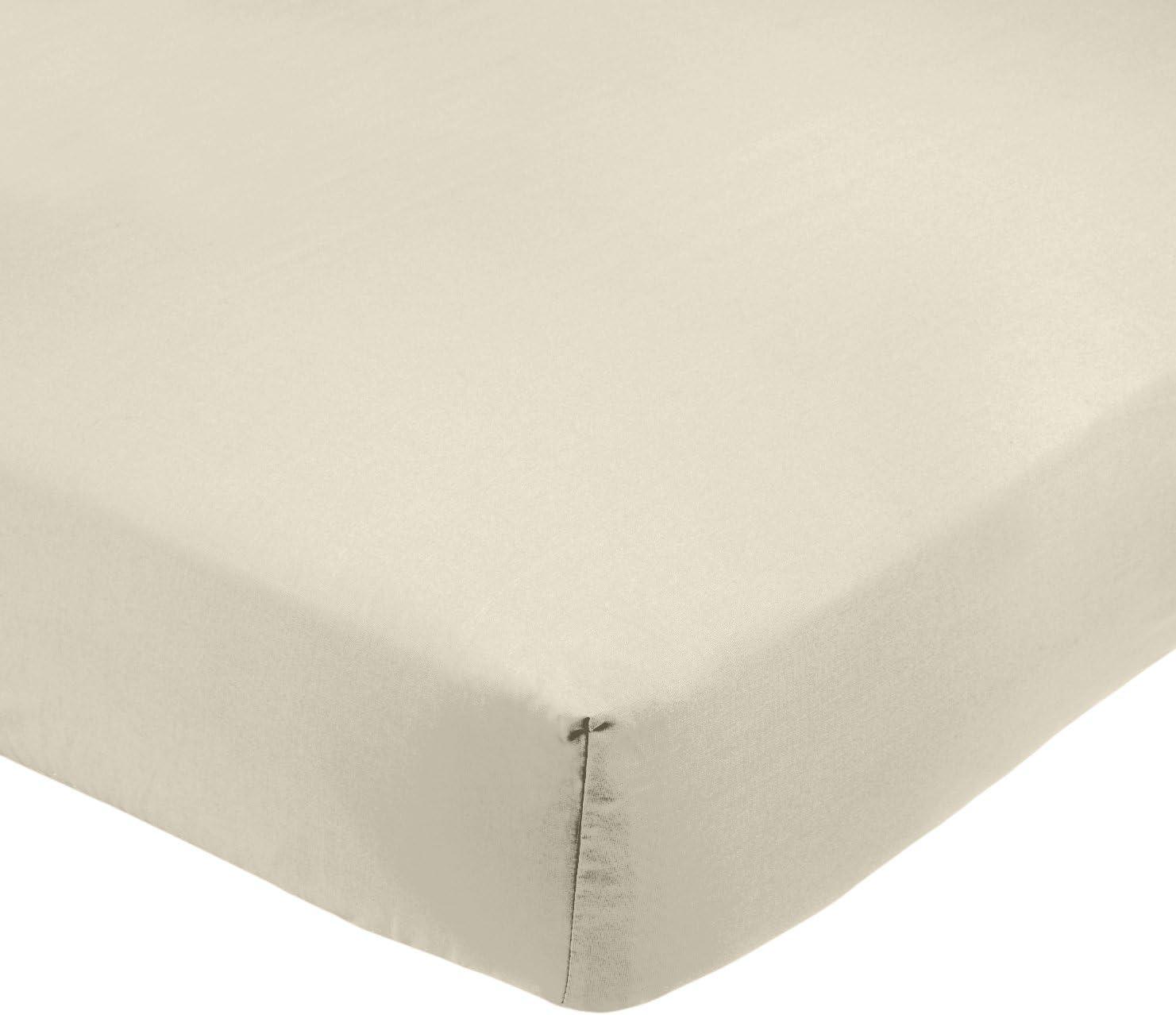 AmazonBasics - Sábana bajera ajustable (polialgodón 200 hilos) Crema - 200 x 200 x 30 cm