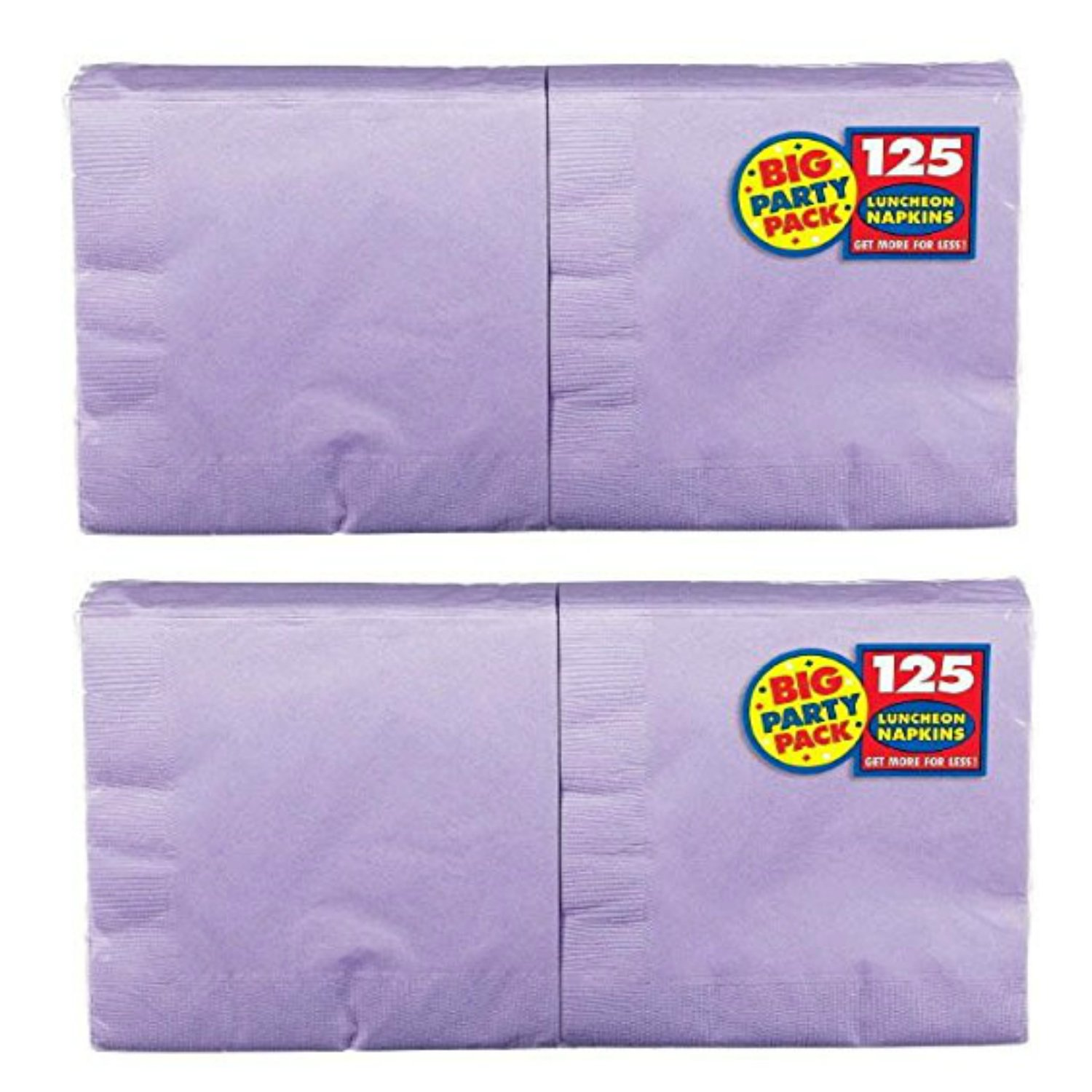 New Purple Big Party Pack - Lunch Napkins, 125 Count, 13in X 13in, 2 ply Amscan 610013.106