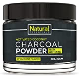 Charcoal Teeth Whitening Powder :: Brighter Smile :: Gentle on Gums :: Removes Stains :: Enhanced with Coconut :: Safe for Sensitive Teeth :: All Natural and Safe :: 2oz/20GM Container :: by Natural E