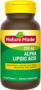 Nature Made Alpha Lipoic Acid 200mg Softgels, 30 Count for Antioxidant Support† (Packaging May Vary)