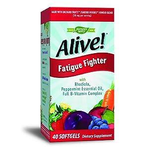 Nature's Way Alive! Fatigue Fighter Vitamin Supplement, Rhodiola, Peppermint Essential Oil, Full B-Vitamin complex, 40 Count