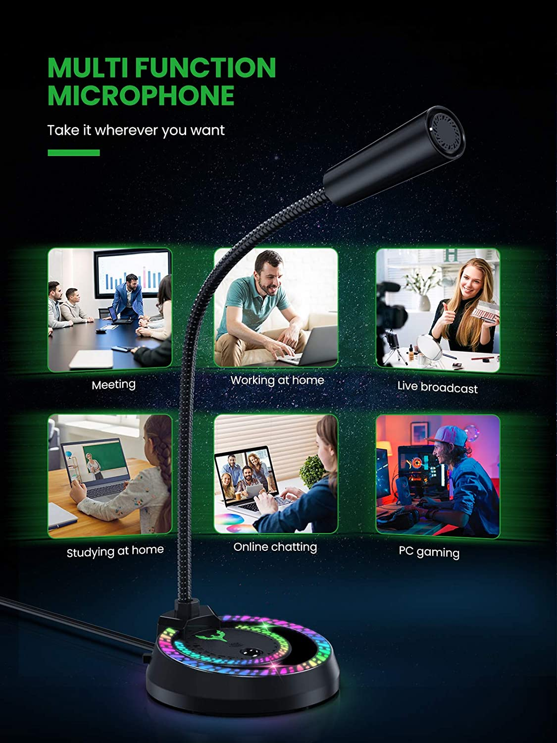 USB LED Streaming Microphone with Noise Canceling Sponge Blade Hawks USB Microphone 360/° Omnidirectional Condenser RGB Mic for Computer Laptop Mac Gamers PC Gaming Microphone