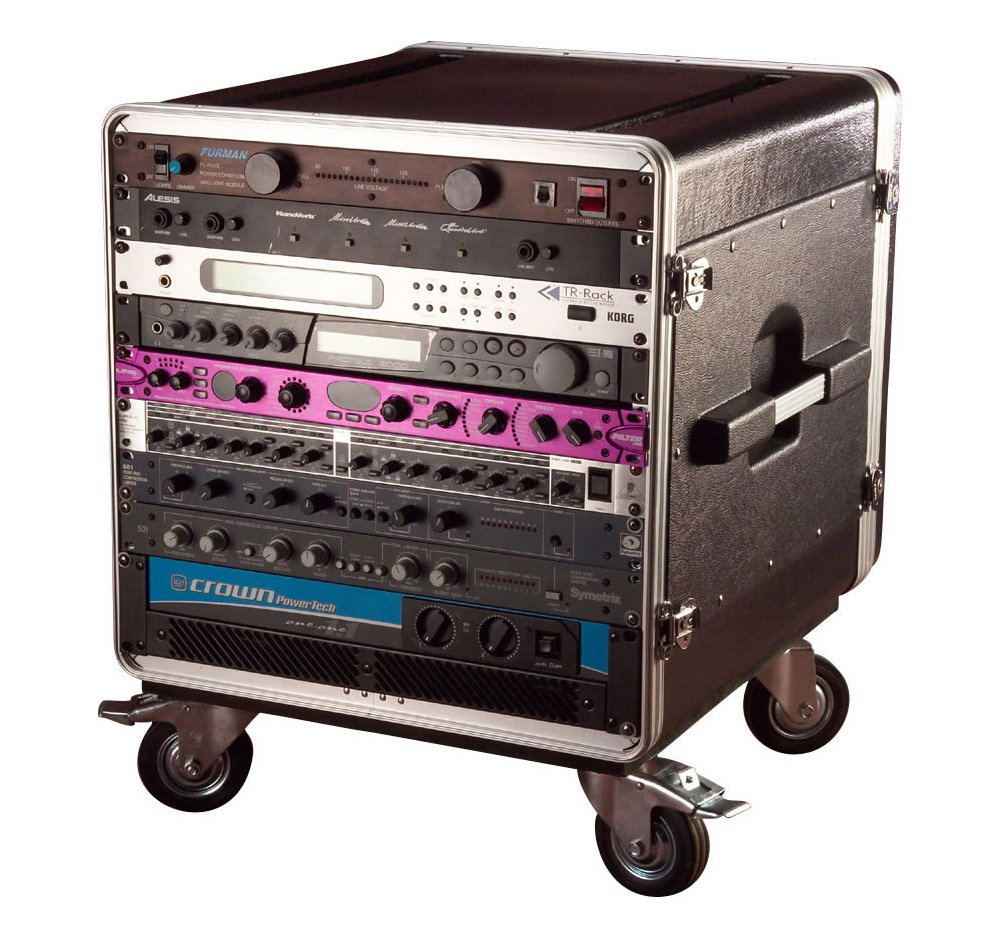 Gator Cases Lightweight ATA Molded Console Rack Case with Heavy Duty Casters; 21'' Rackable Depth, 10U (GRC-BASE-10)