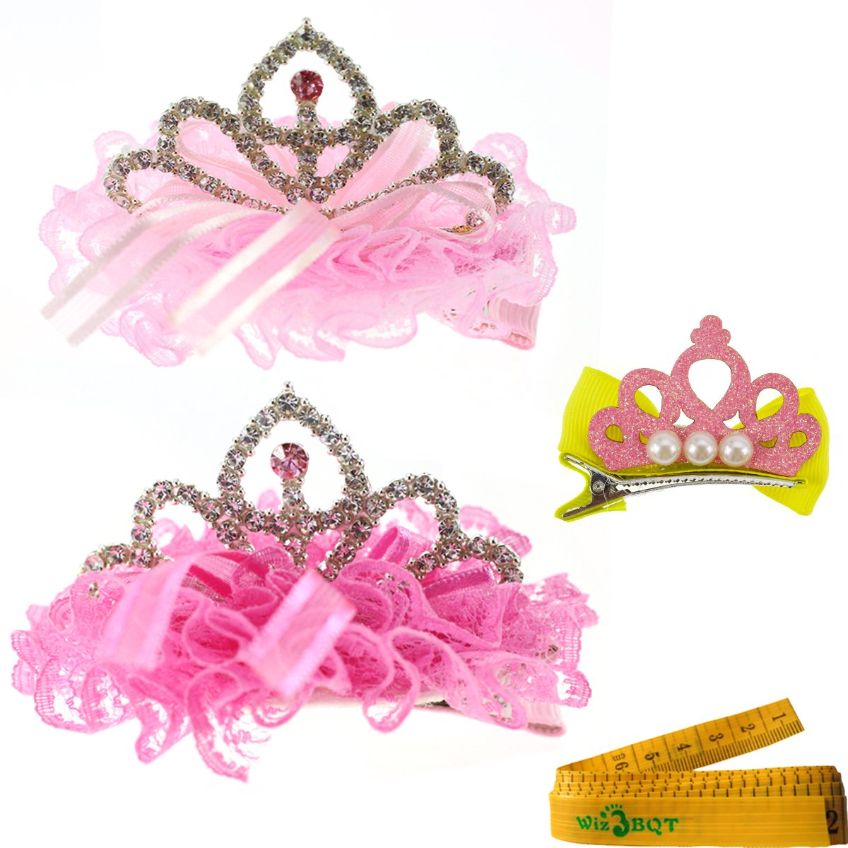 2 Pcs Adorable Cute Cat Dog Pet Birthday Party Crown Shaped Lace Hair Clips and 1 Pcs Crown Shaped Clip for Kitten Puppy Small Dogs Cats Pets (A) by Wiz BBQT