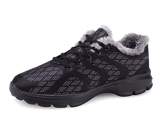 Mens House Slippers Winter Sneakers Fur Lined Indoor Outdoor Casual Walking