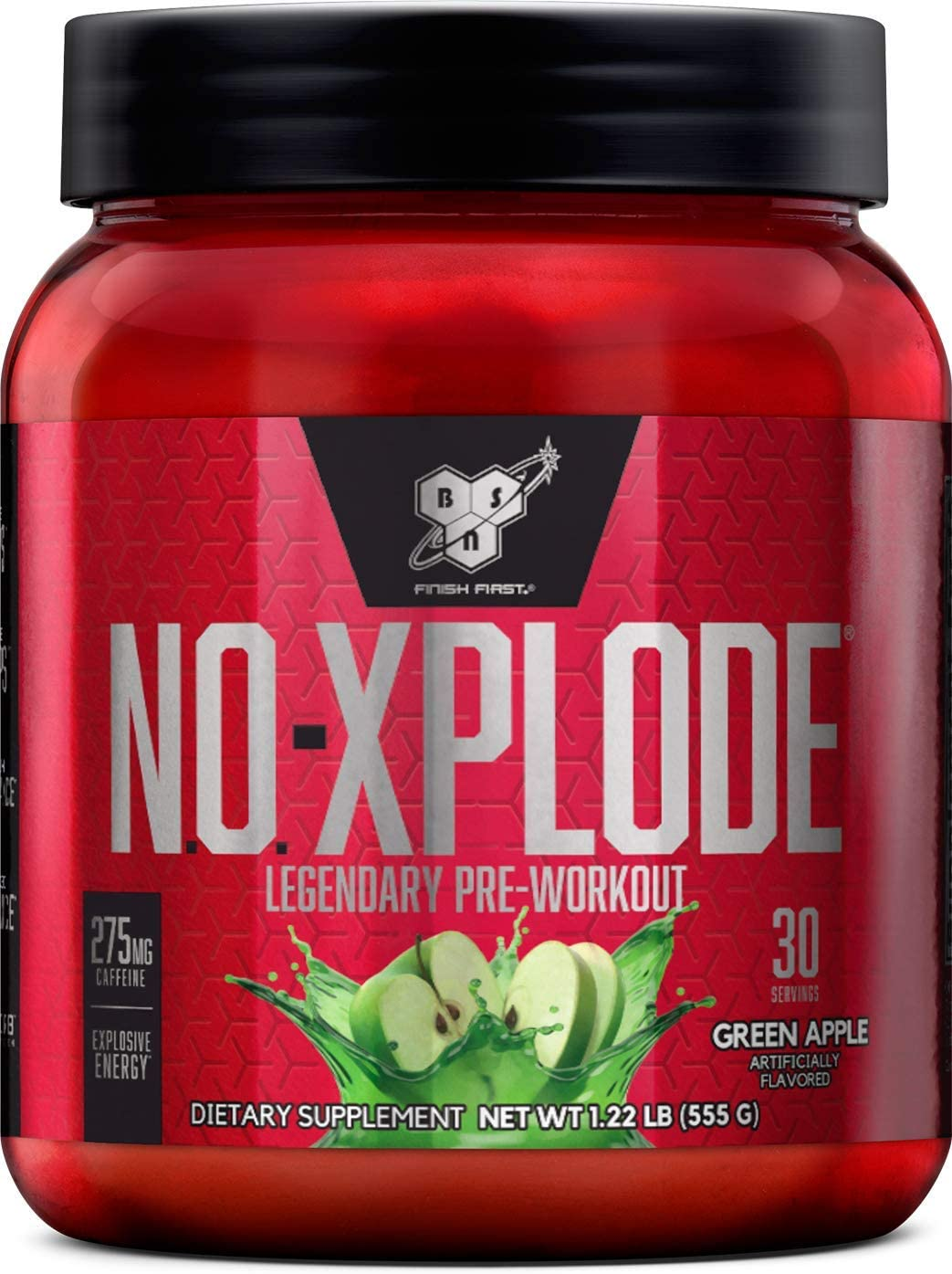 BSN N.O.-XPLODE Pre-Workout Supplement with Creatine, Beta-Alanine, and Energy, Flavor: Green Apple, 30 Servings