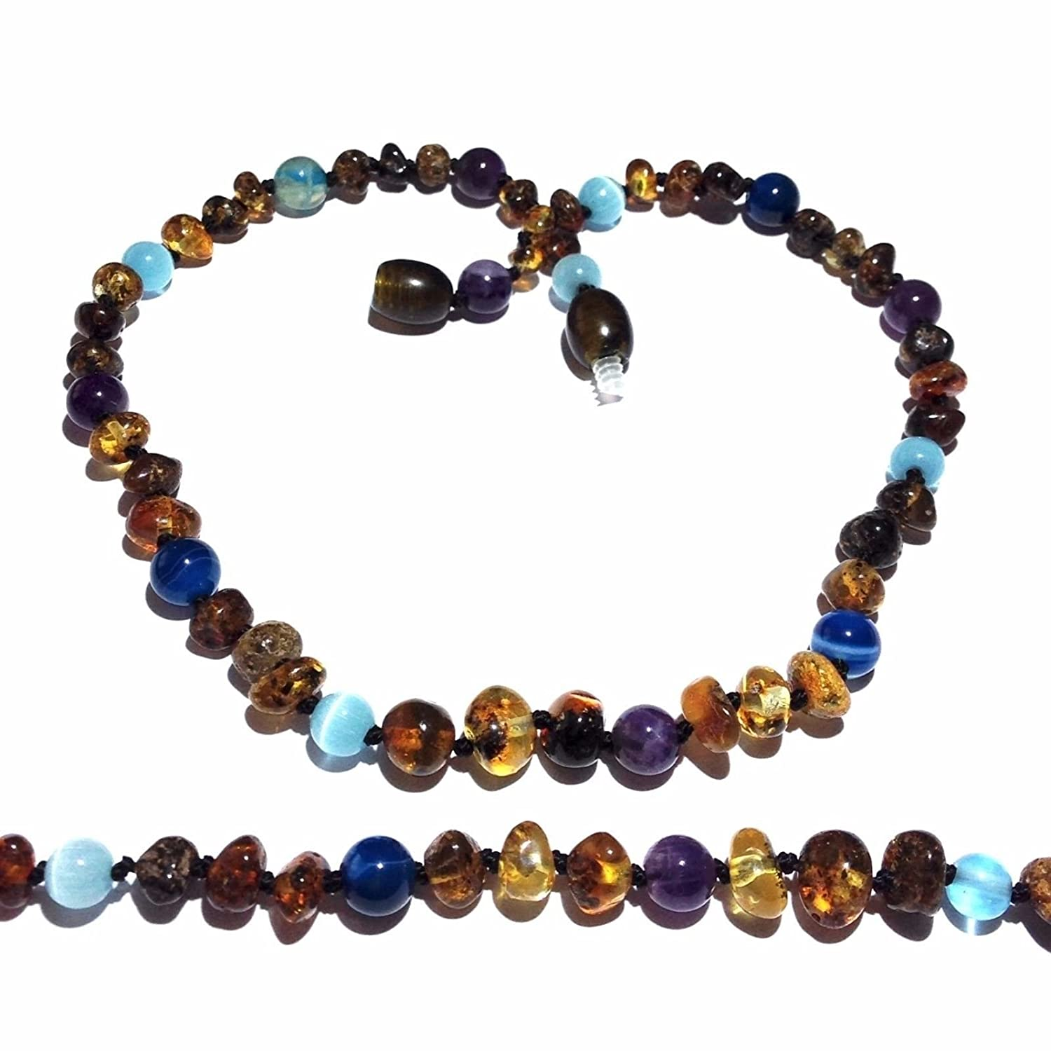 Adult Ocean Green Baltic Amber Amethyst Blue Cats Eyes Anklet Love Amber x UK
