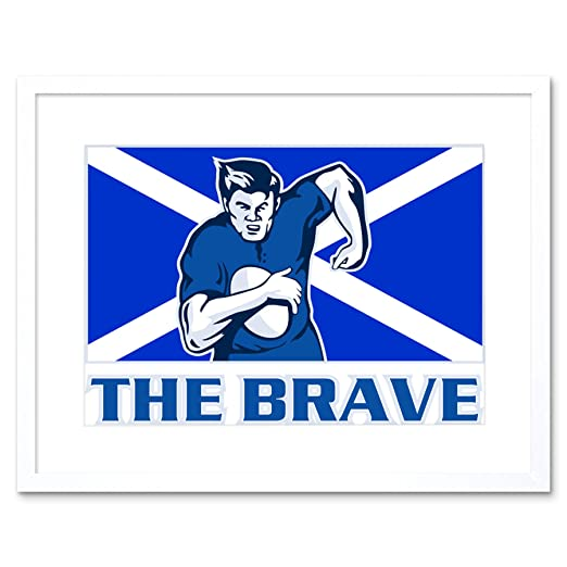 Wee Blue Coo Painting Sport Scotland Rugby Football Flag Brave ...