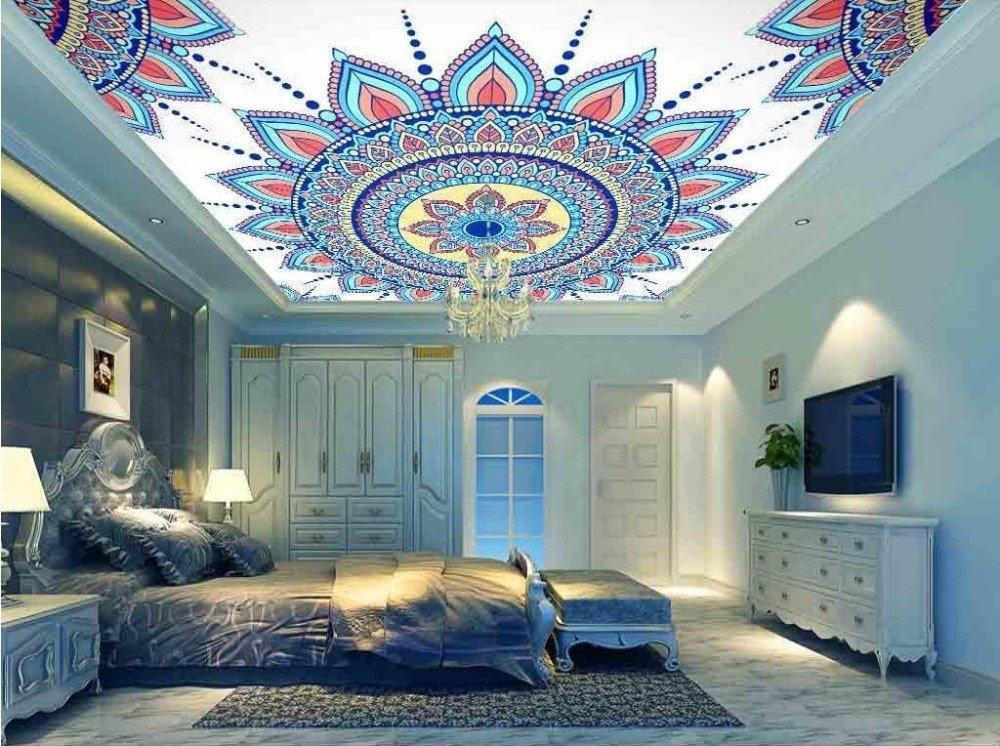 LWCX European Blue 3D Wallpaper Living Room Bedroom Ceiling Wallpaper Pattern Luxury Wall Mural Wallpaper Ceiling Wallcovering 308X220CM