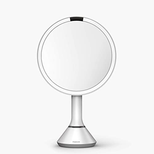 simplehuman 8 Round Sensor Makeup Mirror with Touch-Control Brightness 5x Magnification, Rechargeable and Cordless, White Stainless Steel