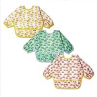 3 Pcs Long Sleeved Bib Set Baby Waterproof Bibs Toddler Bib with Sleeves