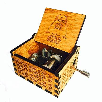 HLZK Star Wars Caja de Música, Mecanismo DE 18 Notas, Antiguo, Tallado de