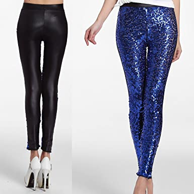 564fa308a9fd4 Sexy Sequin & Faux Leather Leggings Sparkly Sequin Trousers Tube ...