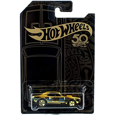 Hot Wheels 2020 50th Anniversary Black & Gold Series '67 Camaro Chase 1/64 Scale Diecast Model Car: Toys & Games