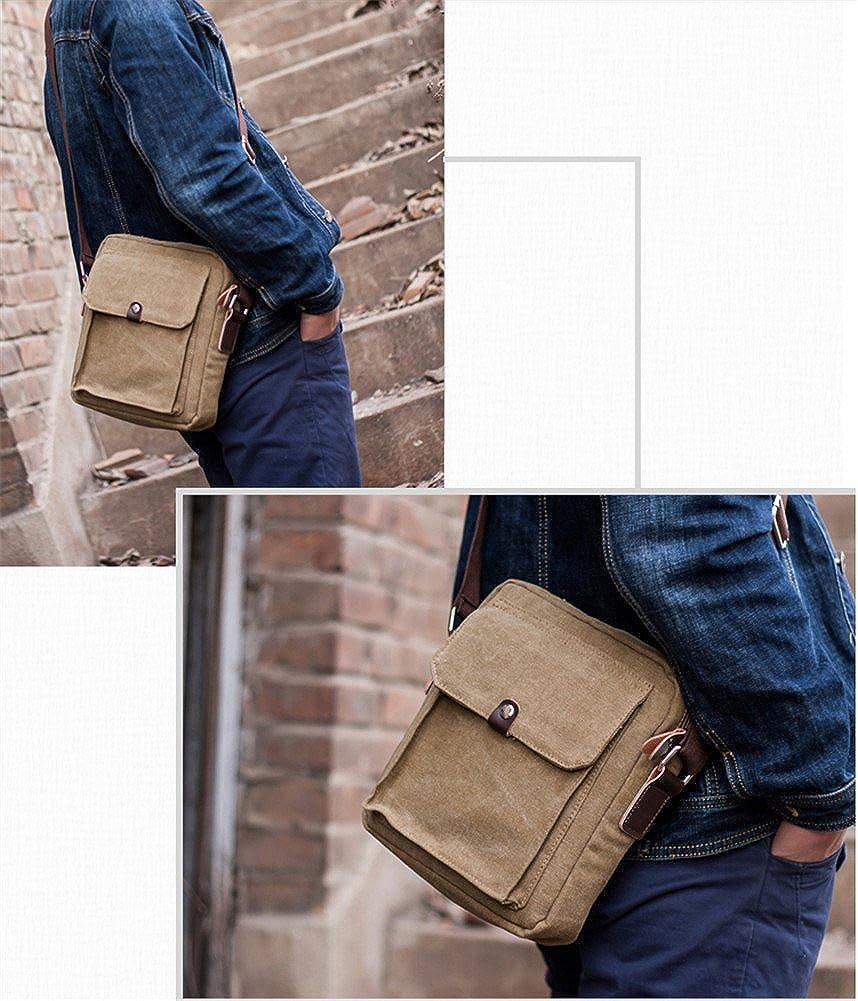 JustsoLe Mens Small Vintage Multipurpose Fallow Canvas Shoulder Bag Messenger Bag Purse