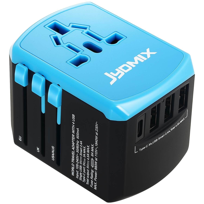 JYDMIX Adaptador de Corriente de Viaje USB Universal,3 Puertos USB Y de Tipo C