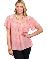 247 Frenzy Women's Plus Coral & Ivory Tribal Scoop Neck Top