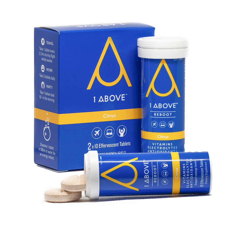 1Above Anti Jet Lag Flight Effervescent Drink Tablets. Super Antioxidant - Pycnogenol + Vitamins + Electrolytes for Travel, Work and Party. 20 count (2 tubes) - Citrus