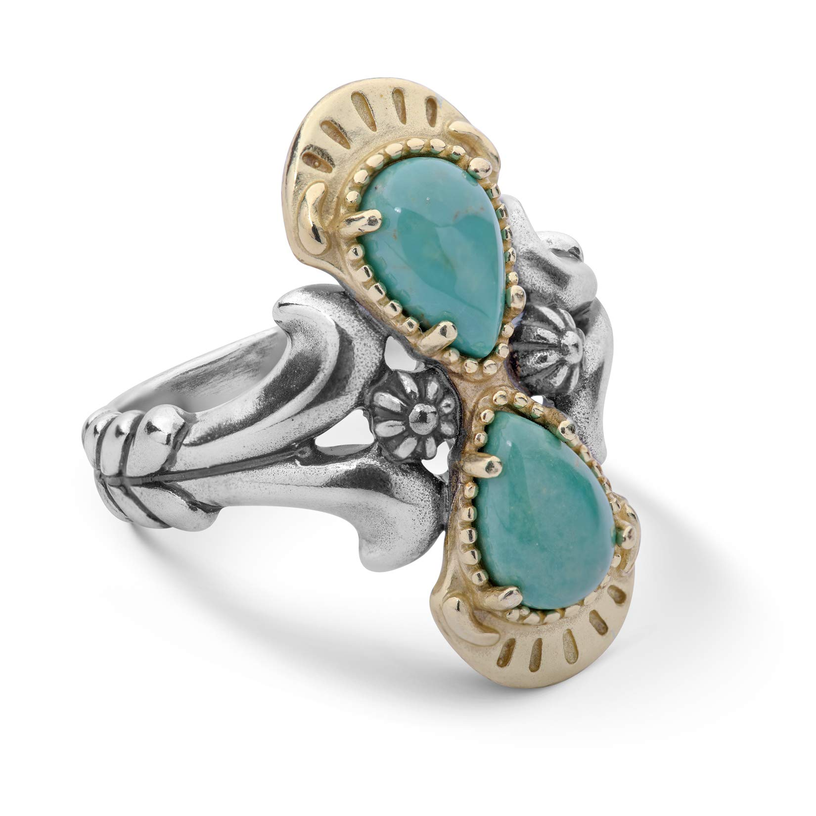 American West Sterling Silver and Brass Green Turquoise Gemstone Double-Teardrop Ring Sizes 6 by American West