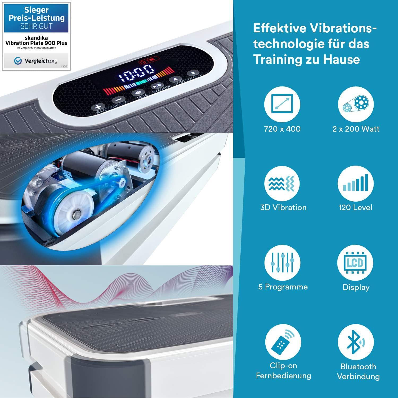 Moteur 200W T/él/écommande au Poignet Plateforme vibrante oscillante SKANDIKA Vibration Plate Home V1 Sangles dentra/înement