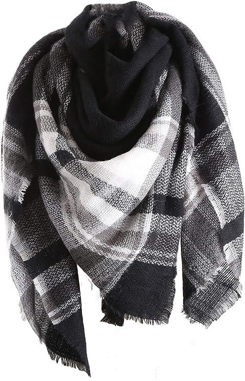 Century Star Womens Stylish Warm Tassels Soft Plaid Tartan Scarf Winter Large Blanket Wrap Shawl