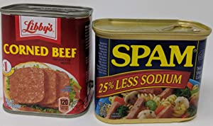 Libbys Corned Beef and Low Sodium Spam Bundle - Canned Corned Beef and 25% Less Sodium Spam