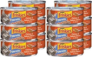 Purina Friskies Shreds Wet Cat Food, Chicken Salmon, 5.5 OZ Cans (12-Count)