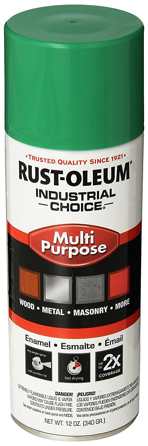 Rust-Oleum Industrial 1600 System General Purpose Enamel Aerosol, Safety Green 16 Oz. Can - Lot of 6 by Rust-Oleum (Image #1)