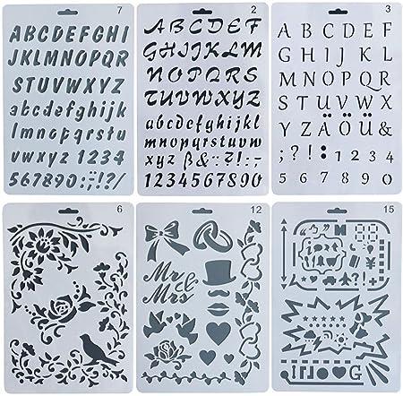 Sookoo 6 pack plastic letter and number stencils templates set sookoo 6 pack plastic letter and number stencils templates set symbols graphics drawing scale template spiritdancerdesigns Images