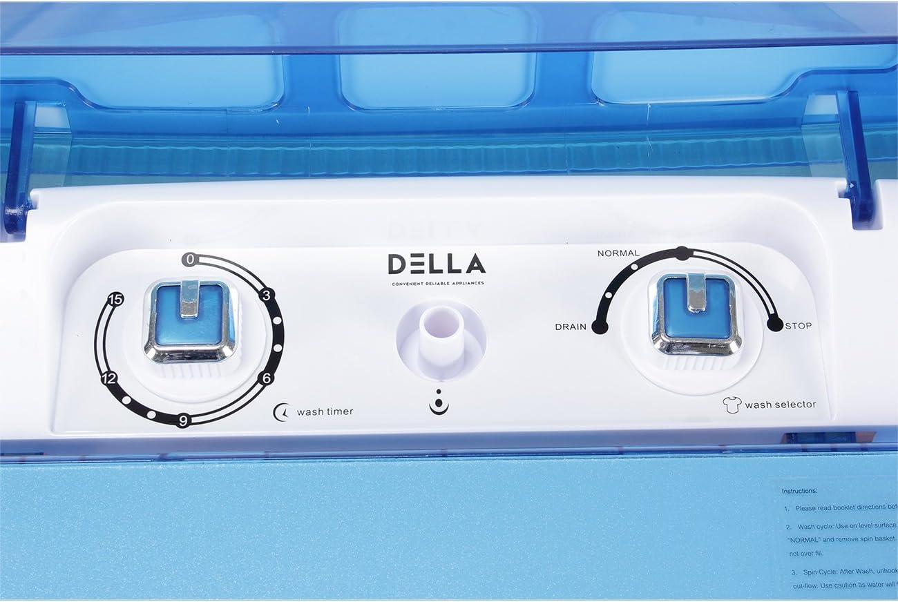 14lbs Capacity Top Load Dorm Home Compact RV 6.5KG White DELLA Portable Washing Machine Single Tub Spin Dry