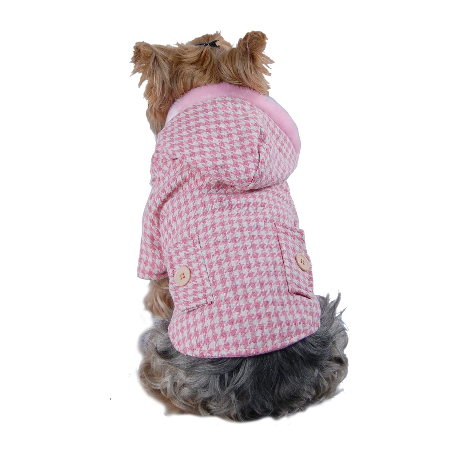 Medium Anima Pink Hundstooth Coat with Hoodie Cold Weather Coat (Medium)