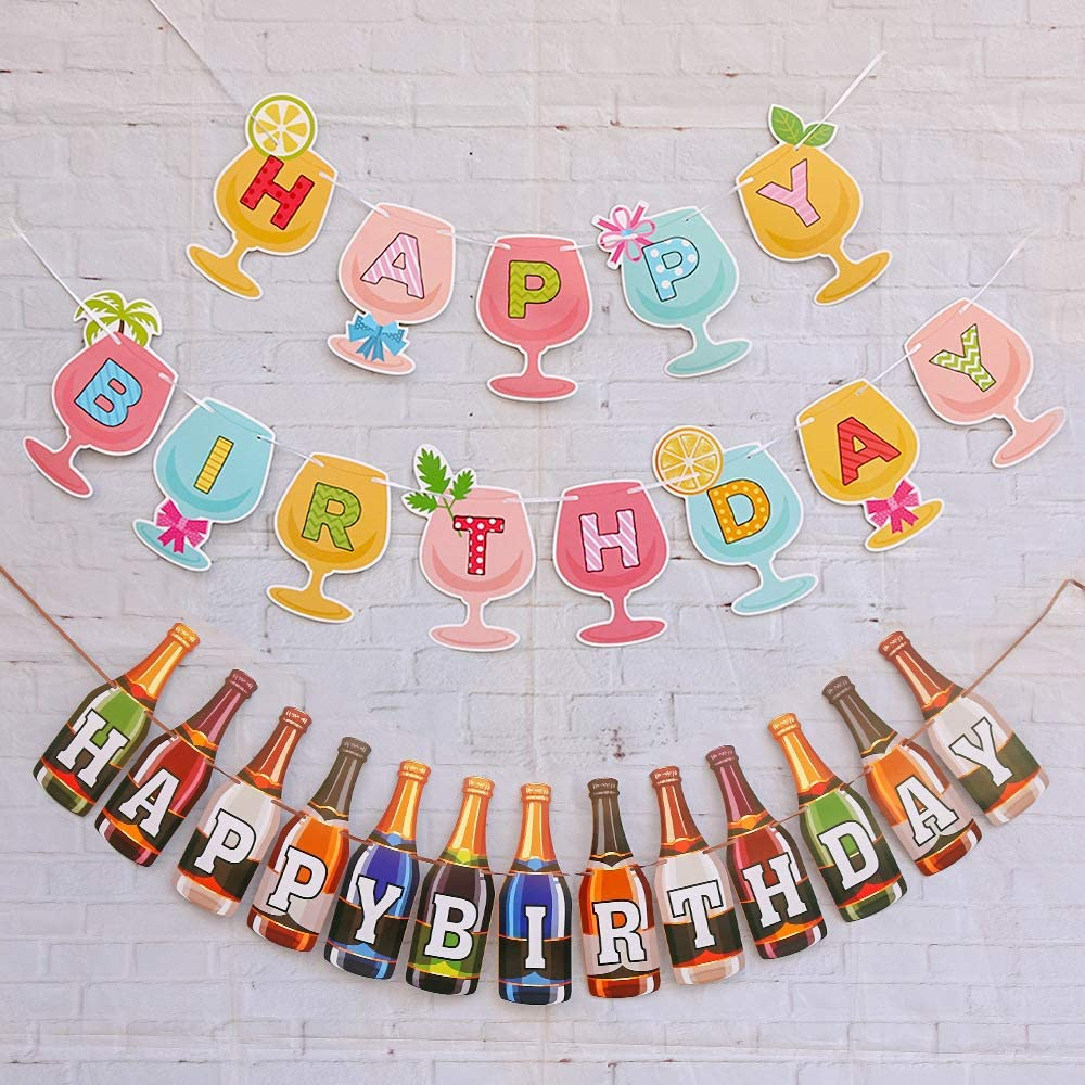 Vantoall Cheers&Beers Happy Birthday Banner/Garland,Beer Bottle Banner,Brandy Glass Banner,Birthday Party Decoration Supplies,Lovely Multi-Colored Banner,Decorations for Beer Themed Birthday Party