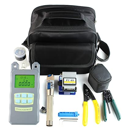 9 In 1 Fiber Optic FTTH Tool Kit with FC-6S Fiber Cleaver and Power Meter