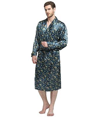 1f2820a846ccfb Herren Seide Bademantel Schlafanzug Pyjama S~3XL Plus-Größe: Amazon.de:  Bekleidung