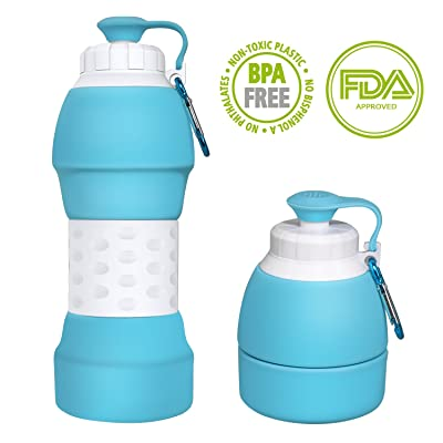 Ecosylife Collapsible Silicome Water Bottle - Portable Light Weight Anti Leakage BPA Free Medical Food Grade Sports Trveling Water Bottle(Blue)