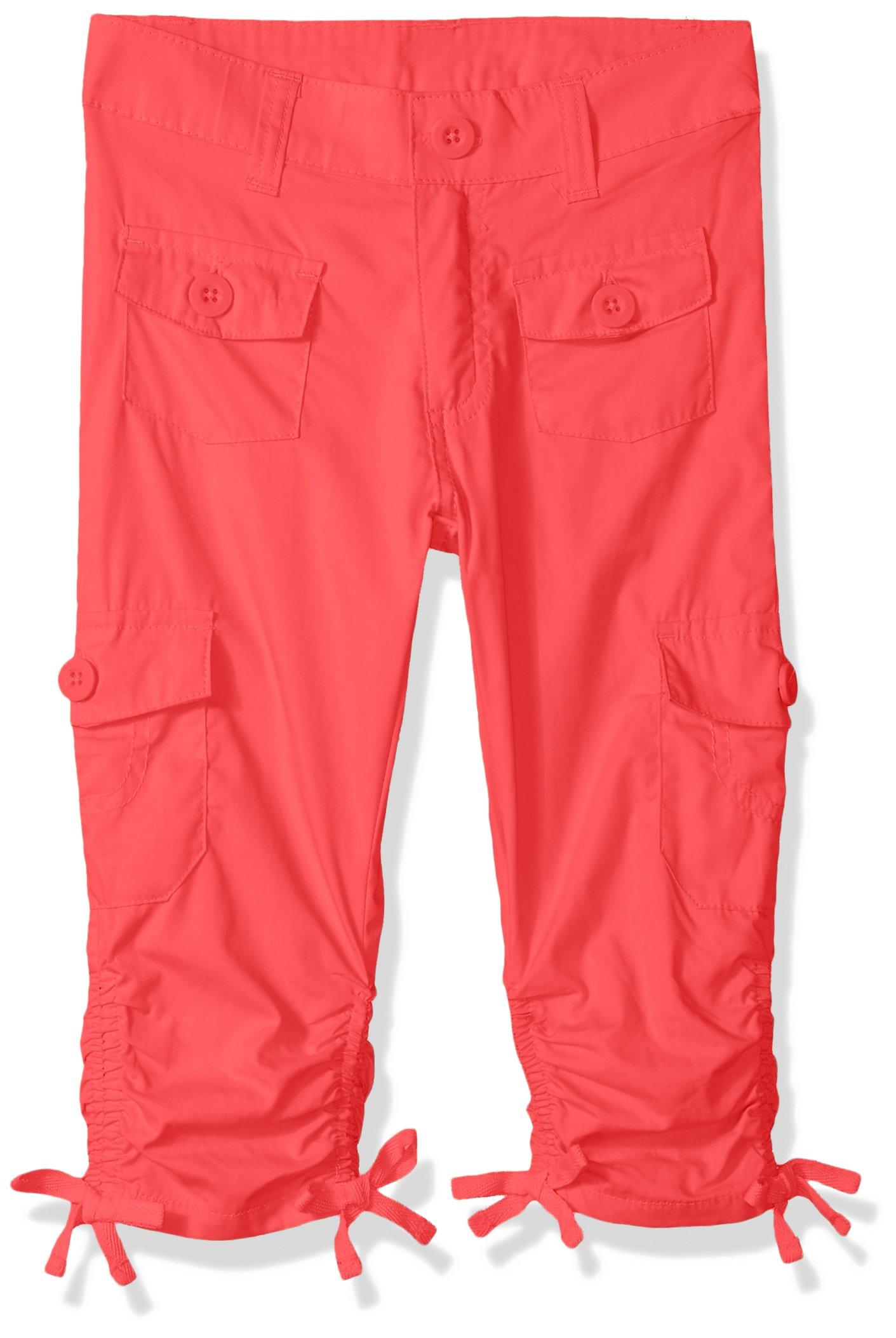 Limited Too Toddler Girls' Fleece Pant, Scrunchy Hem Poplin Cargo Capri Coral, 4T