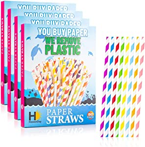 HowenDay Paper Straws   200 Eco Friendly Drinking Straws   Biodegradable, Compostable, Disposable Straws in Biodegradable Packaging   1 Large Box w/ 4 Inner Boxes of 50 Colorful Straws Each